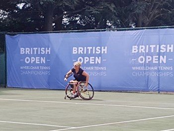Shropshire's Val Fisher takes part in ITF Nottingham Futures wheelchair tennis tournament