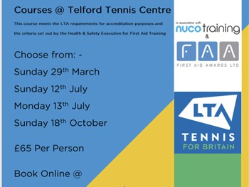 First Aid courses at Telford Tennis Centre,